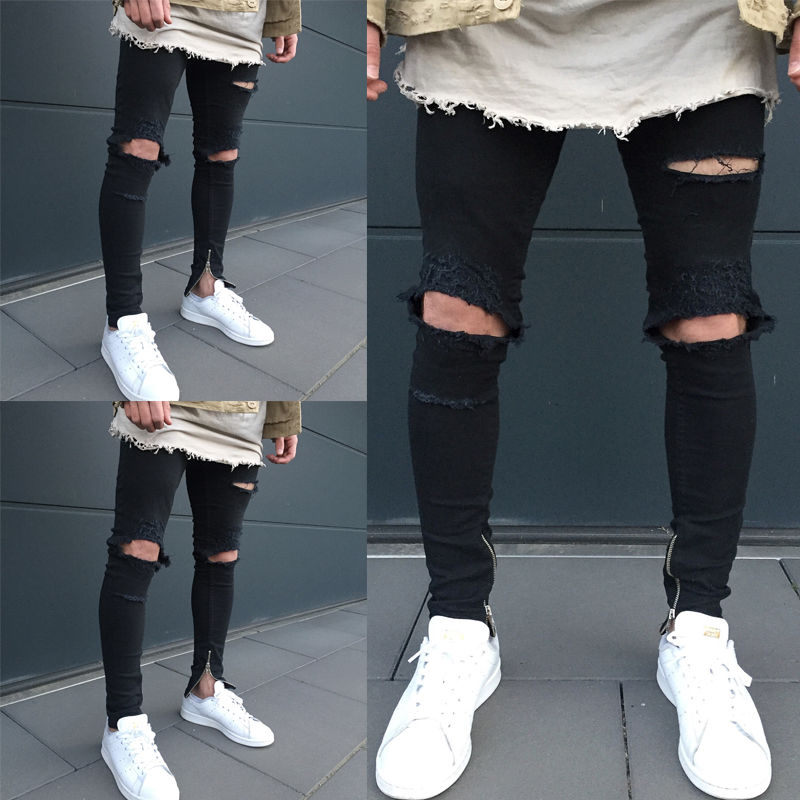 цена на Men's Fashion Ripped Skinny Biker Slim Jeans Destroyed Frayed Designed Slim Fit Denim Pencil Holes Pants