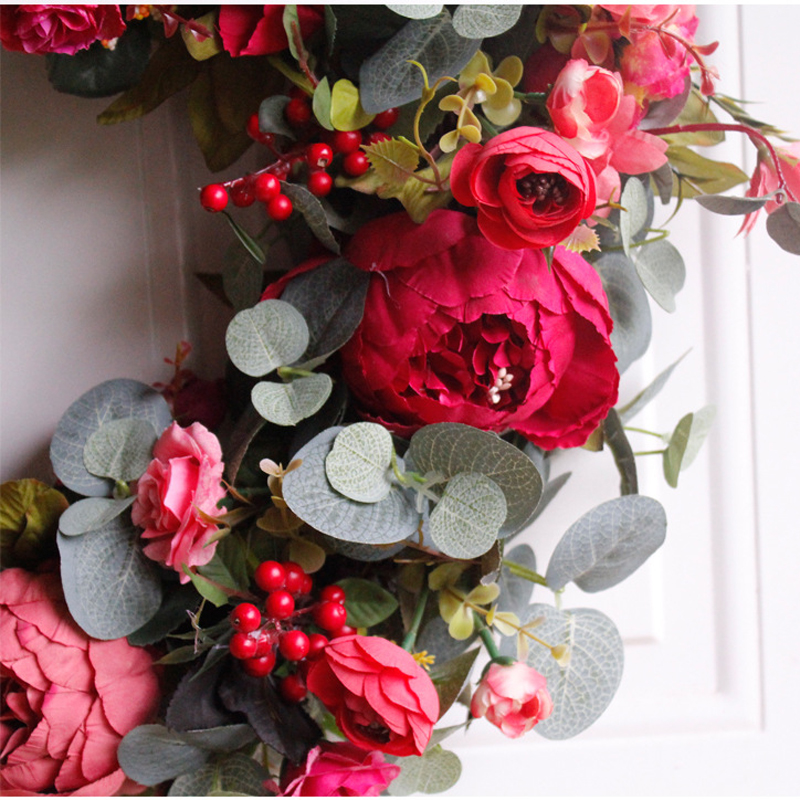 Image 5 - Autumn Peony Wreath Christmas Wreath Red Door Wreath Wall Hanging Garland Ornaments Wall Cumplea Os Decorations Farmhouse-in Wreaths & Garlands from Home & Garden