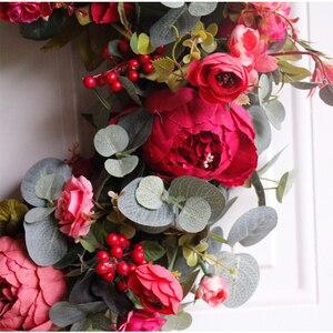 Image 5 - Corona de peonías de otoño, guirnalda de Navidad, guirnalda de puerta roja, adornos de guirnaldas colgantes de pared, decoraciones de pared, casa de campo