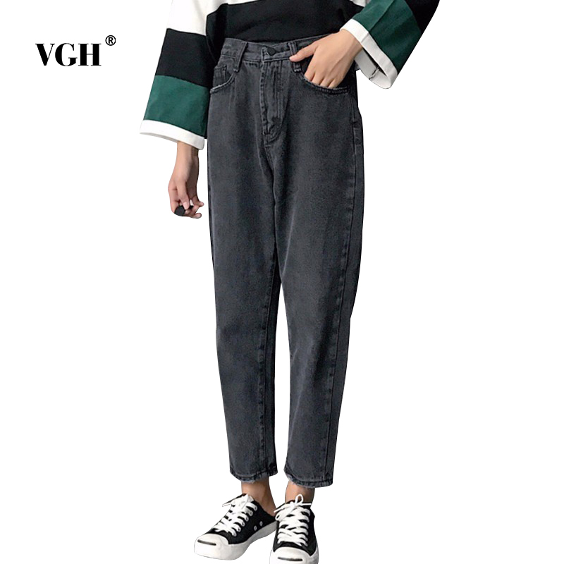 VGH High Waist Loose Denim Harem Pants Women Black Ankle Length Jeans Pants Big Size Female Jean Trousers Casual Clothing loose ankle length jeans for women 2017 new vintage distressed high waist ripped denim harem pants woman trousers plus size