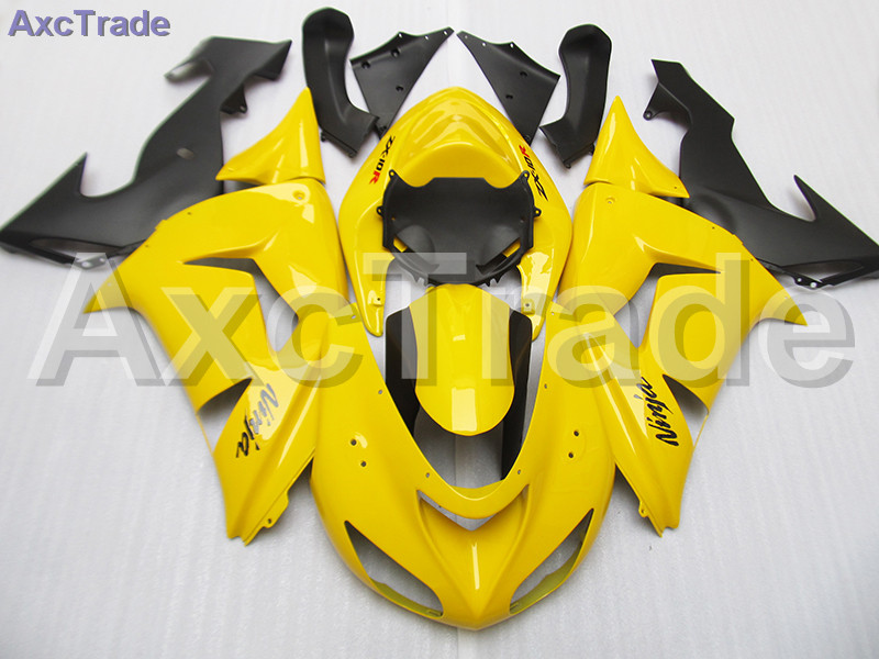 Moto Motorcycle Fairing Kit For Kawasaki Ninja ZX10R ZX-10R 2006 2007 06 07 ABS Plastic Fairings fairing-kit Yellow Black C490 black moto fairing kit for kawasaki ninja zx14r zx 14r zz r1400 zzr1400 2006 2007 2008 2009 2010 2011 fairings custom made c549