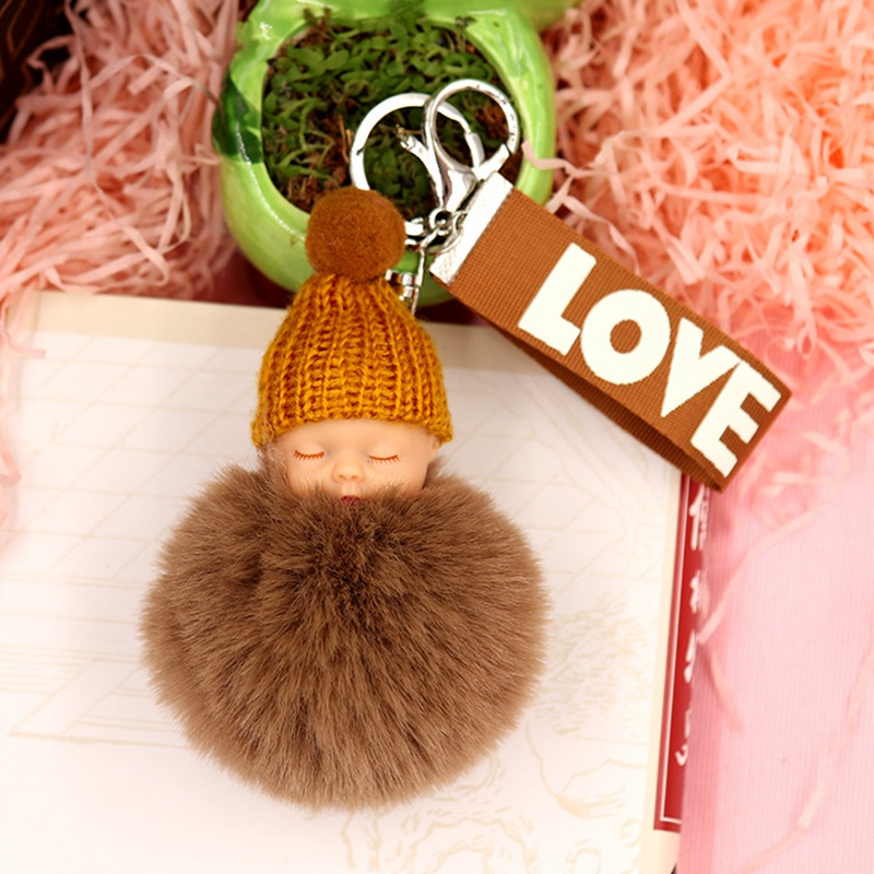 New Women Holder Bag Pendant Charm Accessory Hot Sleeping Baby Doll Keychain Pompom Rabbit Fur Ball Key Chain Car Keyring