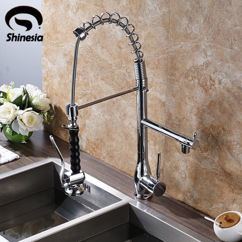 Chrome Polished Kitchen Sink Faucet Single Handle Swivel Spout Mixer Tap Hot & Cold Water Tap polished chrome single handle kitchen sink mixer faucet dual spout hands free sprayer with lock