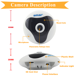 Image 4 - Smar 360 درجة بانورامية كاميرا IP لاسلكية 960P ثلاثية الأبعاد VR شبكة عين السمكة واي فاي اتجاهين الصوت كاميرا الأمن دعم ماكس 128G TF