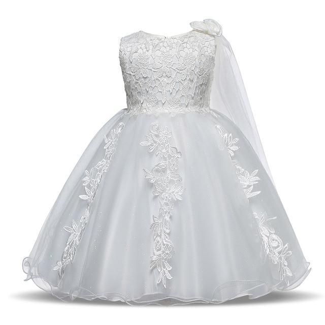 8c51bfa5f5 Bebê Vestido Da Menina Flor Do Laço Rosa Branco Vestido Infantil Batismo  Batizado Primeira 1st Aniversário