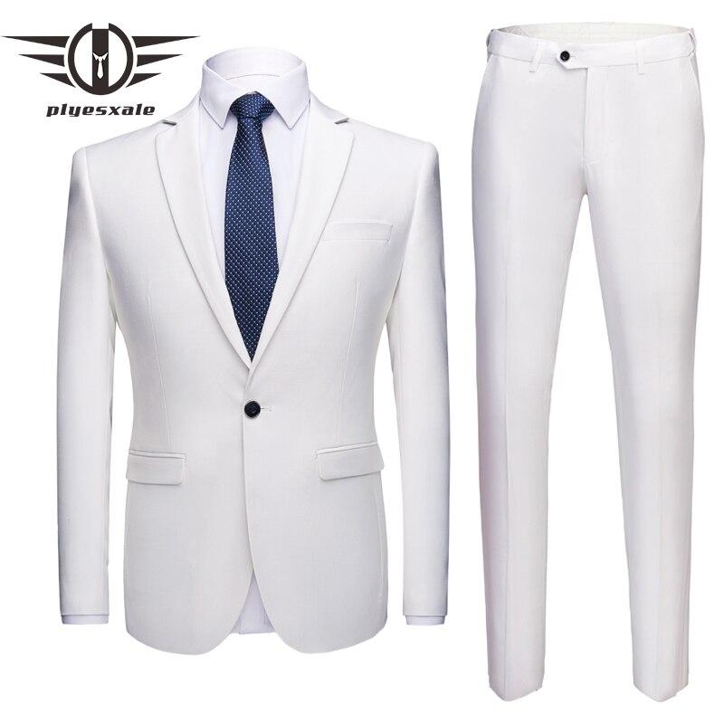 Plyesxale 5XL 6XL trajes para hombre diseñadores 2018 negro blanco gris Rosa Borgoña boda para los hombres novio 2 piezas Formal traje Q147