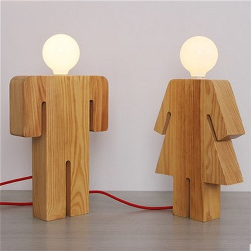Современный минималистский моды спальня общежитие исследование Свадебный номер на день рождения FRESH арт пара Деревянный светильник ZL16 утр...