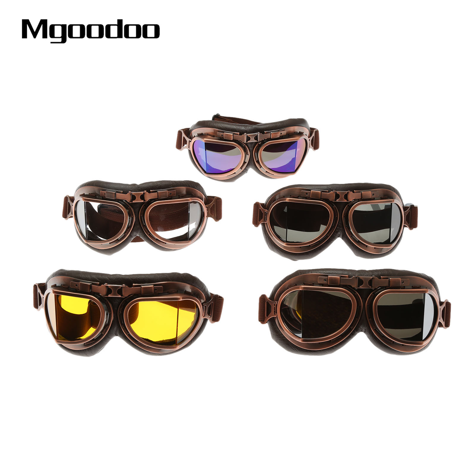 Motorcycle Goggles Glasses Vintage Motocross Eyewear Goggles Retro Aviator Pilot Steampunk ATV Bike UV Protection Gear Glasses