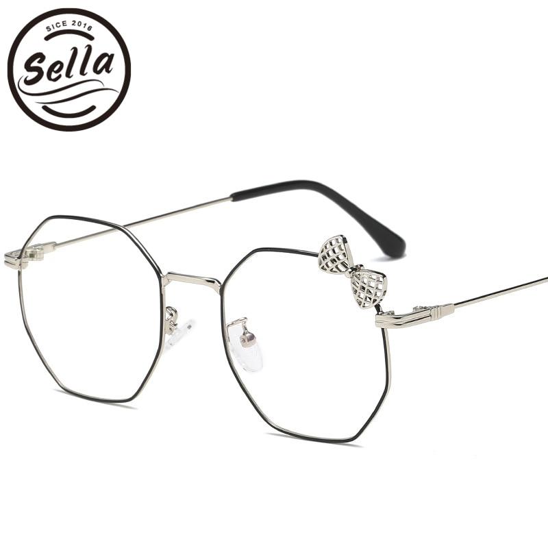Sella New Arrival Trending Women Bow-knot Decoration Glasses Retro Light Alloy Frame Clear Lens Ladies Rosette Eyewear Frame