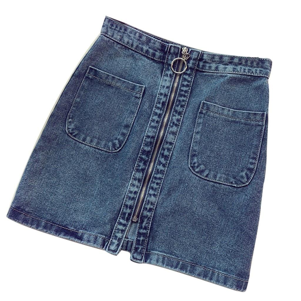 Denim Skirt High Waist A-line Mini Skirts Women 2020 Summer New Arrivals Single Button Blue Jean Skirt Style Saia Jeans #B