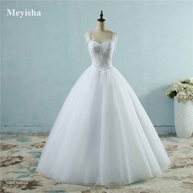 ZJ9082 Ivory White Princess Ball Pretty Lace Pearls Beads Sleeve Two Shoulder 2019 2020 Dresses Wedding Bride Gown Size 2-26W 1