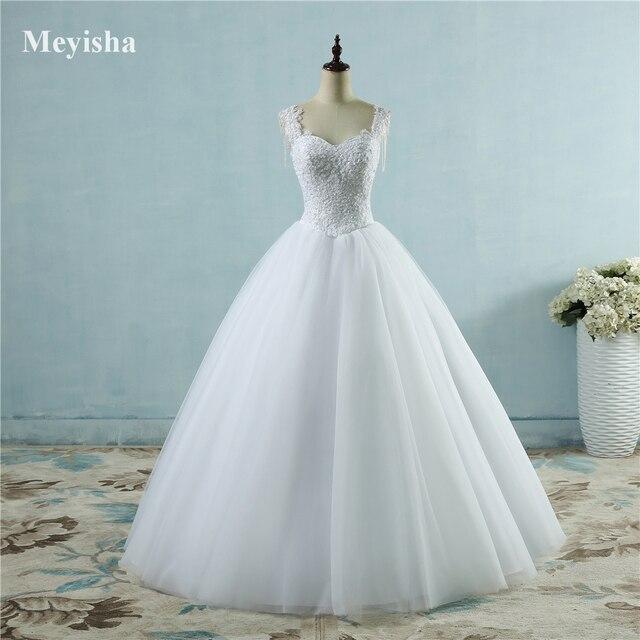 ZJ9082 שנהב לבן נסיכת כדור די תחרה פניני חרוזים שרוול שני כתף 2019 שמלות כלה הכלה שמלת גודל 2- 26 W