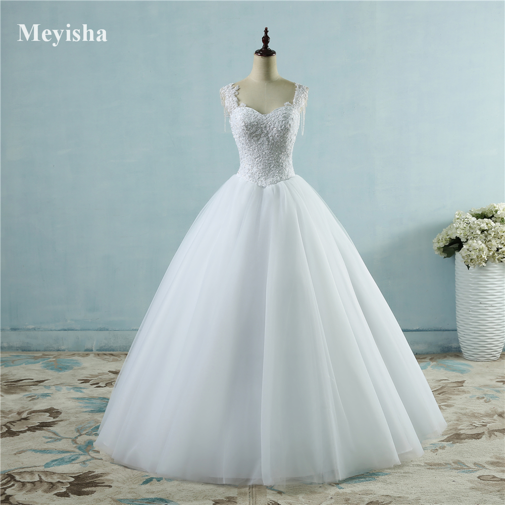 ZJ9082  Ivory White Princess Ball Pretty Lace Pearls Beads Sleeve Two Shoulder 2019 Dresses Wedding Bride Gown Size 2-26W