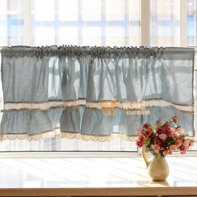Free Shipping Blue Lace Juxtaposition Hem Short Curtain Coffee Kitchen Curtains For Living Room Bedroom W 180 Cm H 50 In From Home