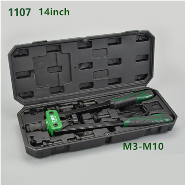"Free shipping 14"" Blind Rivet Nut Gun Heavy Hand Inser Nut Tool Manual Mandrels M3 M4 M5 M6 M8 M10 With A Luxury Box Rivnut Gun 1"