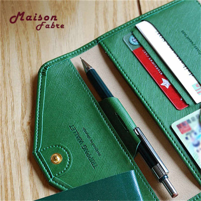 aac22e0ab546 U5#Maison Fabre ID Card Wallet Neutral Multi-purpose Travel Passport Wallet  Tri-fold Document Organizer Holder Bag