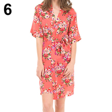 Fashion Women Kimono Robe Half Sleeve Bathrobe Bridesmaid Wedding Dressing Gown