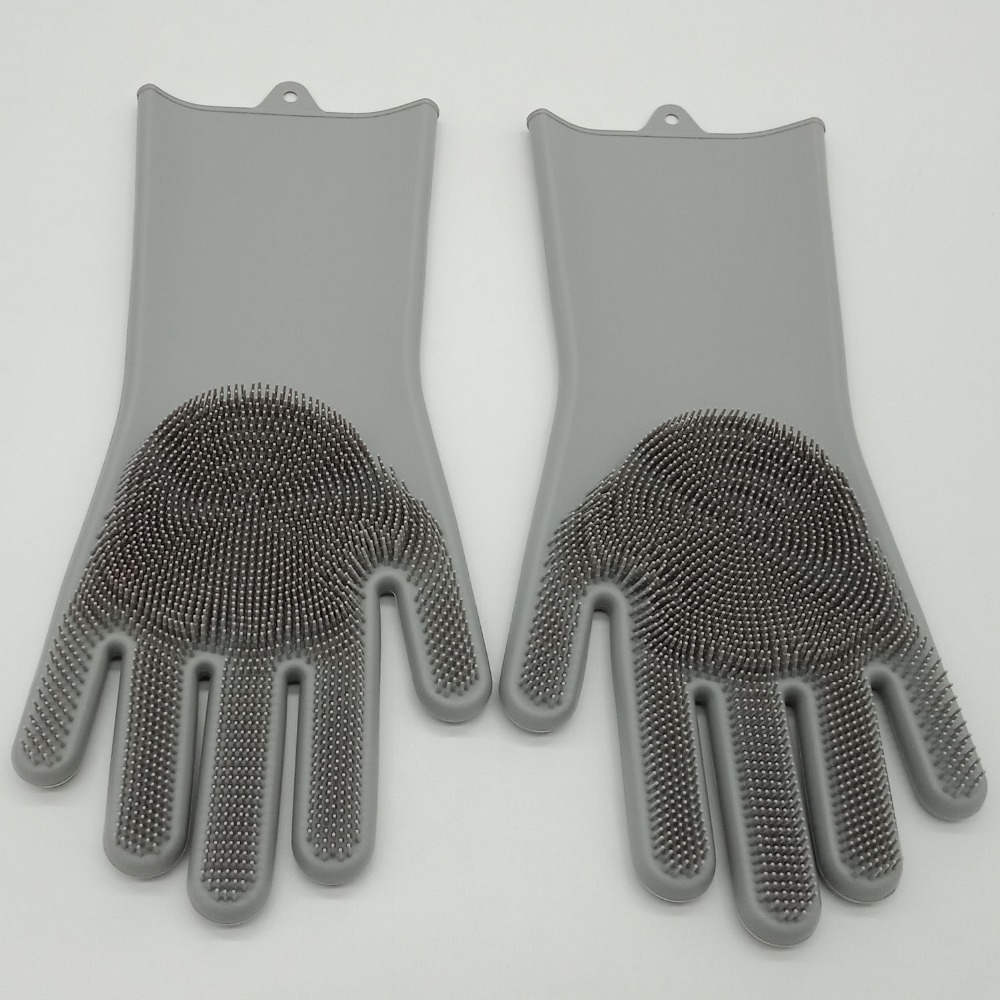 Good Quality (2 Pieces) a Pair Fishing Rubber Silicone Gloves Gray Waterproof Gloves Catching Fish Anti Slip Gloves Durable
