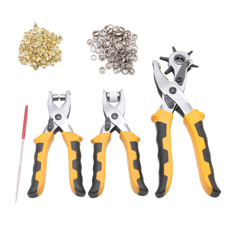 3Pcs Set Multifunctional Punch Hand Plier Duty Leather Belt Hole With 200 Grommets W312