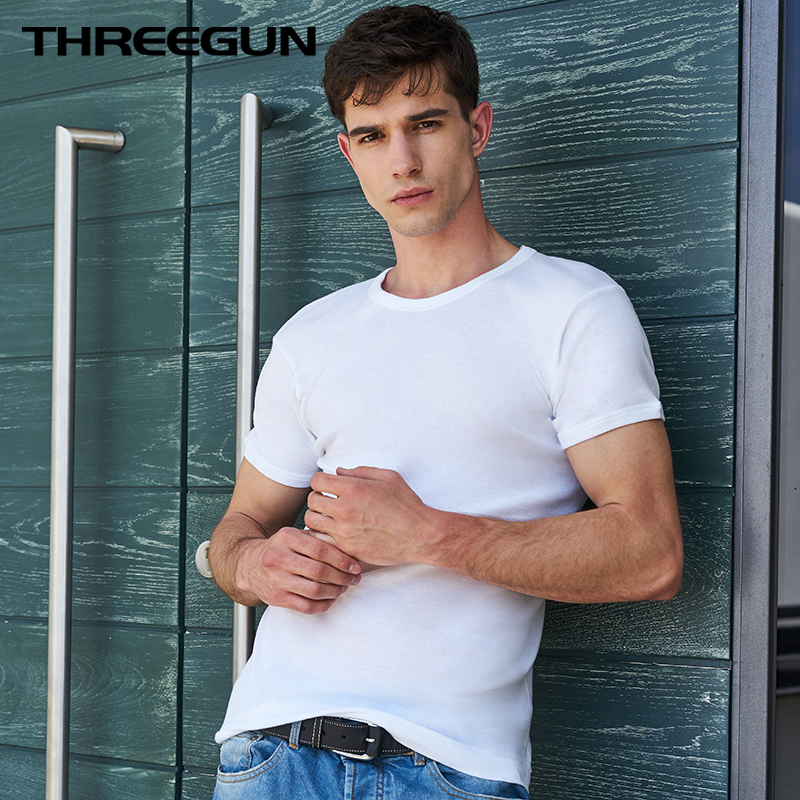 THREEGUN 2018 Summer T Shirt Solid Cotton High Quality Slim Casual White Basic Tracksuit Underwear T-Shirt Men V Neck Boy Brand
