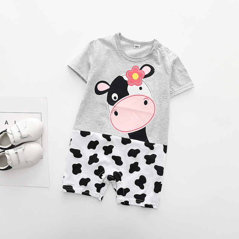 18 new ins hot style in Europe and America the zebra print with short sleeves, dress up the baby romper suit