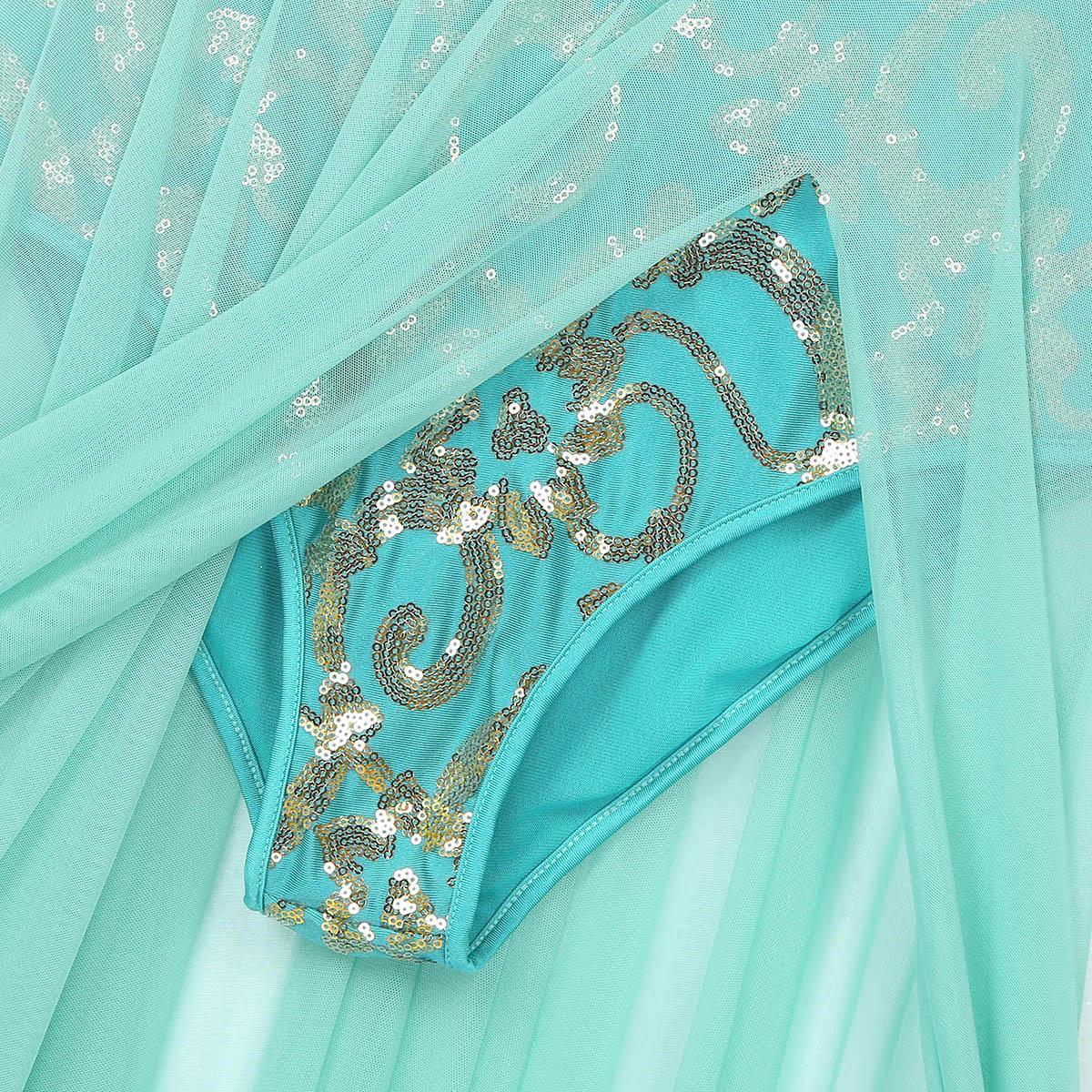 Image 5 - Women Ballet Tutu Skirt Floral Sequins Shiny Tank Leotard Maxi Dress for Modern Lyrical Praise Contemporary Stage Dance CostumeBallet   -