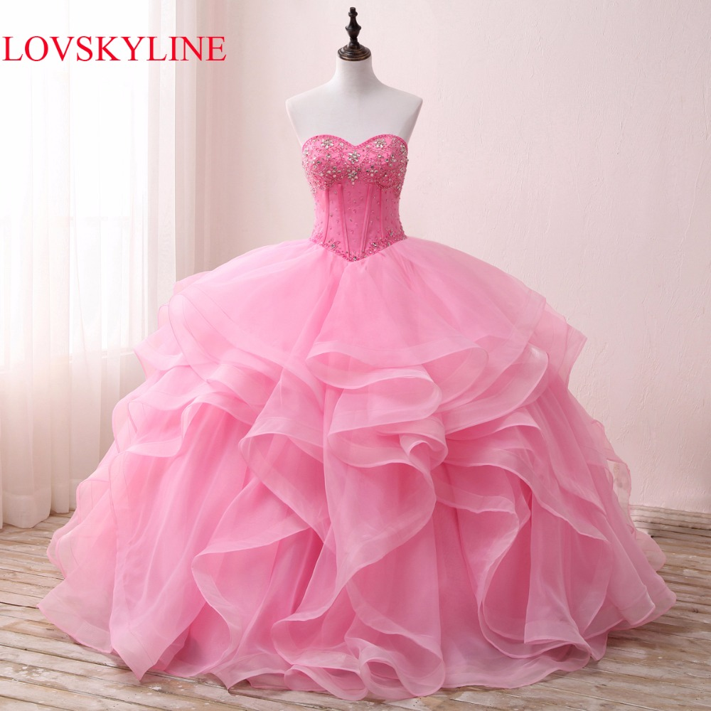 LOVSKYLINE Hot Elegant Sweetheart Wedding Dress 2017 Pink Actual Picture Tiered Beading Crystal Custom Size vestido de noiva