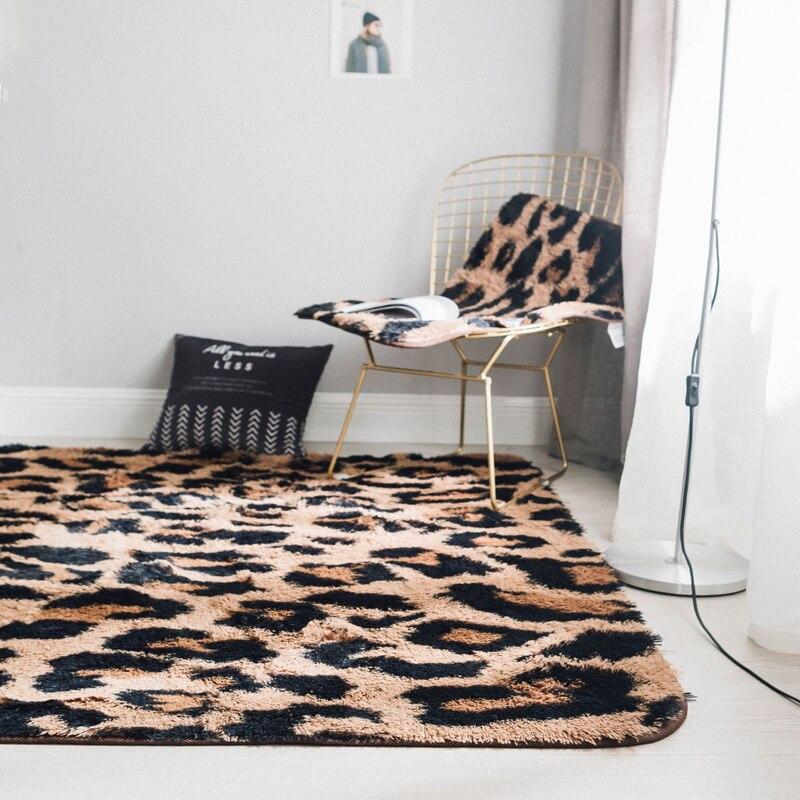 Slow Forest Furry Carpet Mink Fur Leopard Pattern Mattress Living Room/Bedroom/Kitchen Anti-slip Rug Fashion Decoration Mat