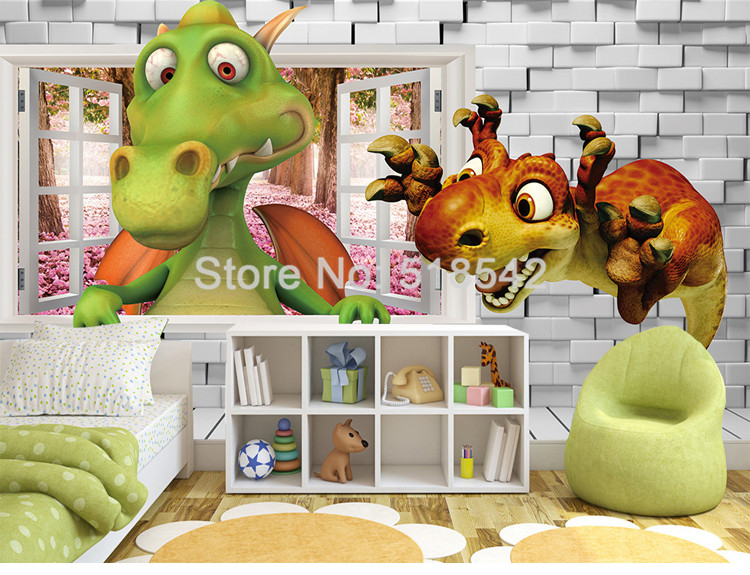 HTB1b.pqQXXXXXXNapXXq6xXFXXXO - Custom Photo Wallpaper 3D Cartoon Cute Dinosaur Brick Wall Children Room Bedroom Background Wall Decor Mural Wallpaper Kids