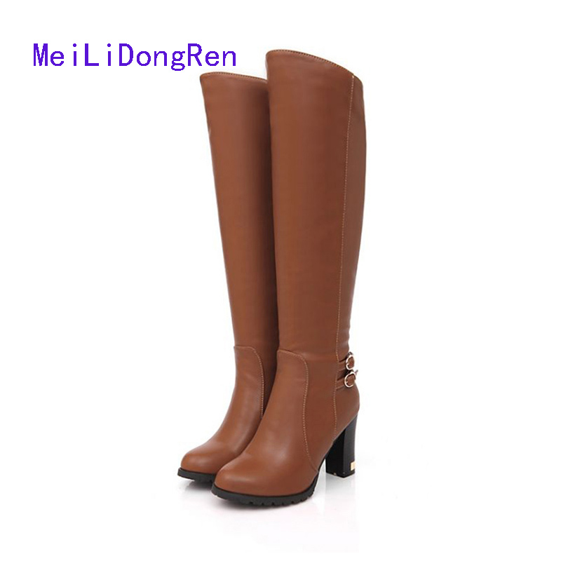 High Quality Women Shoes Autumn Winter ThicK Heel Female Motorcycle Boots High Heels Big Size 34-43 zapatos de mujer 2017 cicime women s shoes high thin heel cone heels autumn winter solid female boots