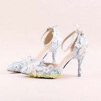 Shoes Woman Light Blue Lace Pearl Flower Bride Wedding Shoes Pointed Toe High Heels 9cm Sapato Feminino Sandalias Mujer 2018