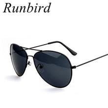 RunBird 2018 New Sunglasses Women Oculos Gold Silver Frame Glasses Men UV400 Sha