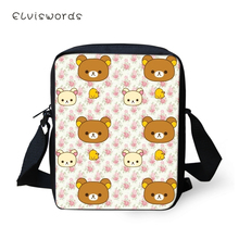 ELVISWORDS Women Messenger Bags Little Bears Pattern Shoulder Kawaii Animal Design Girls Flaps Handbags Mini Kids Mochila