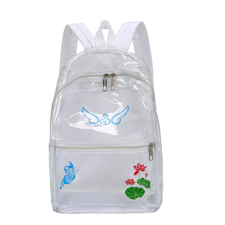 New Arrival Fashion Women Girl Plastic Transparent School Bag Backpacks Ladies Floral Printing Trave Shoulder Bags sac a dos S