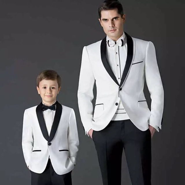 Noir Et Blanc Blazer Père Et Fils Correspondant Costumes 2 Pièces Smokings  de marié De Mariage 36b7fc2a5c0