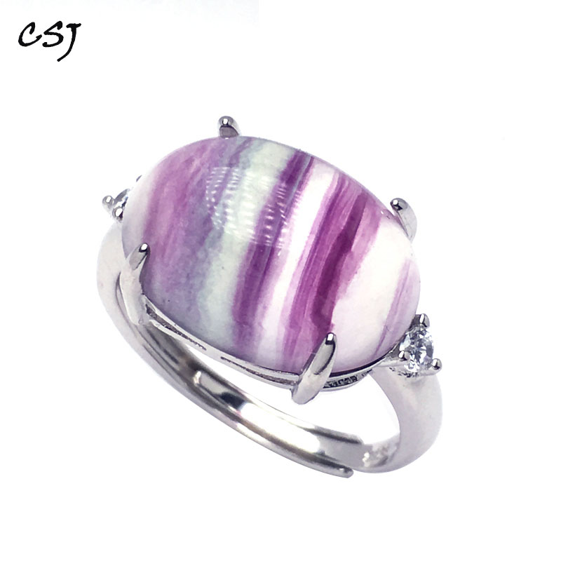 CSJ Natural Rainbow Fluorite adjustable Ring 925 Sterling Silver oval13*17mm Women and Lady Wedding Engagment Party Gift Box