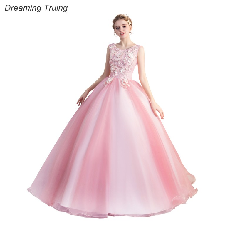 b5a3f7a3754 Real Images Ball Gown Pink Quinceanera Dresses 3D Flowers For Quinceanera  15 Years Sweet 16 Dresses