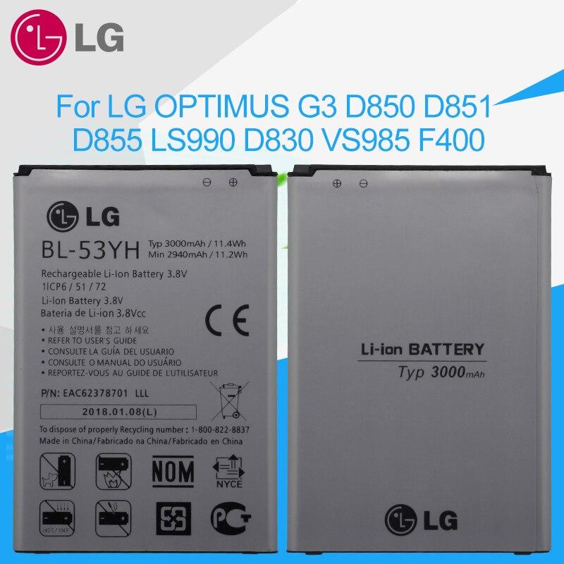 LG Substituição Original BL-53YH 3000 mAh Da Bateria Do Telefone para LG Optimus G3 D830 D850 D851 D855 LS990 VS985 F400 LG g3 Baterias
