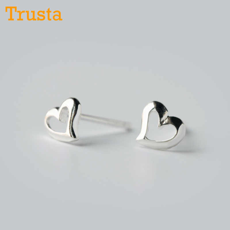 Trusta 100% 925 Sterling Silver Jewelry Fashion Cute Small Hollow Heart Stud Earrings Gift For Girls Teens Lady  DS41