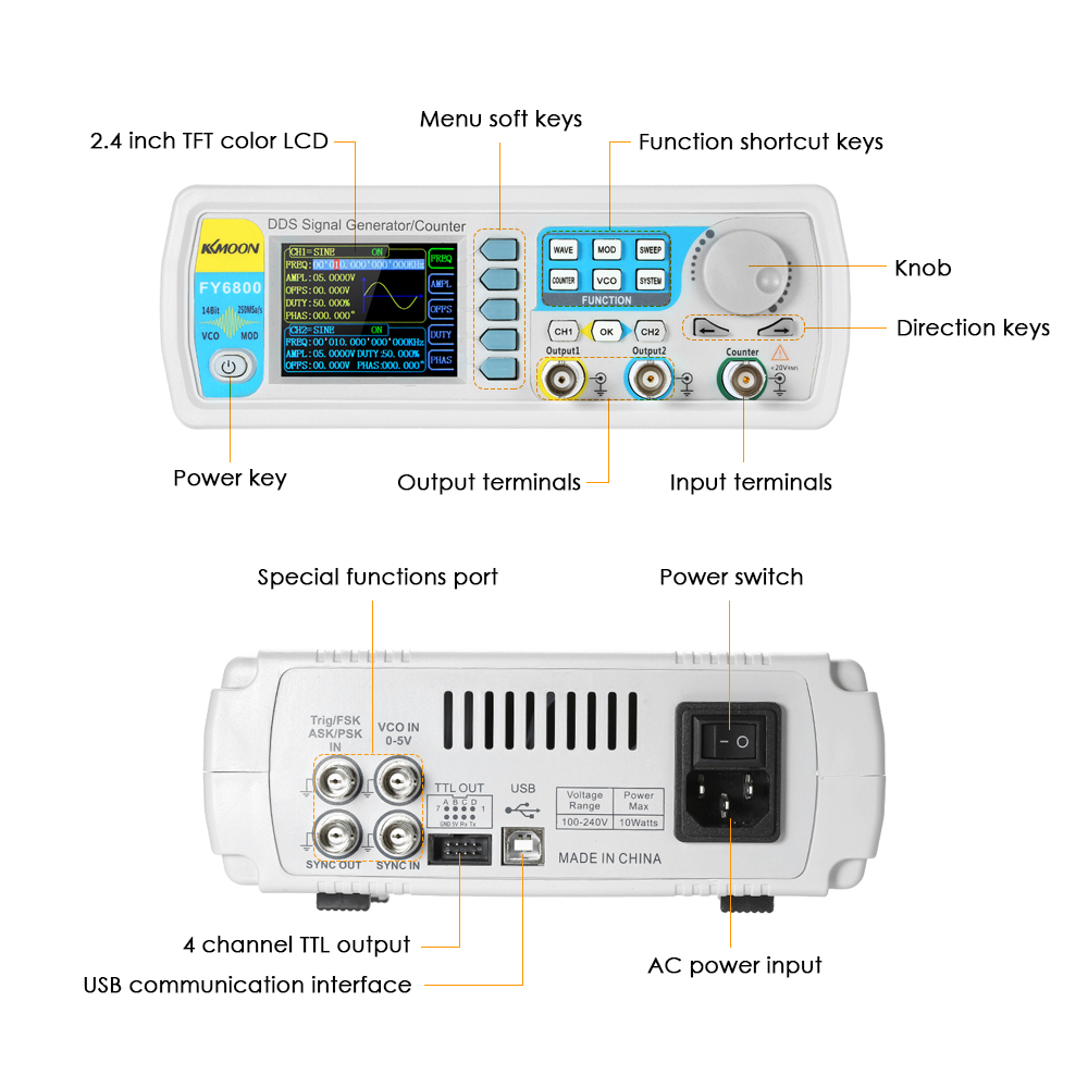 FY6800 Digital DDS Dual channel Function Signal Generator Arbitrary Waveform Generator 250MSa/s 14bits Frequency Meter 40MHz-in Signal Generators from Tools    3