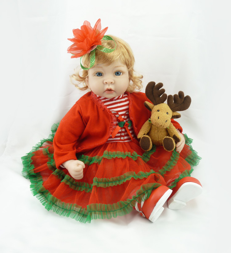 22 silicone doll reborn babies toys realistic princess girl fashion dolls red christmas dress deer dolls toys for children gift22 silicone doll reborn babies toys realistic princess girl fashion dolls red christmas dress deer dolls toys for children gift