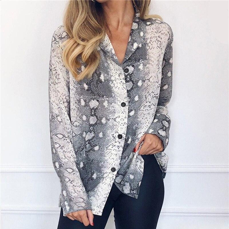 Snake Print Blouse New Patchwork 2019 Sleeve Women Chiffon Blouse Casual Loose Top Tee Vintage Ladies Basic Shirt Plus Size