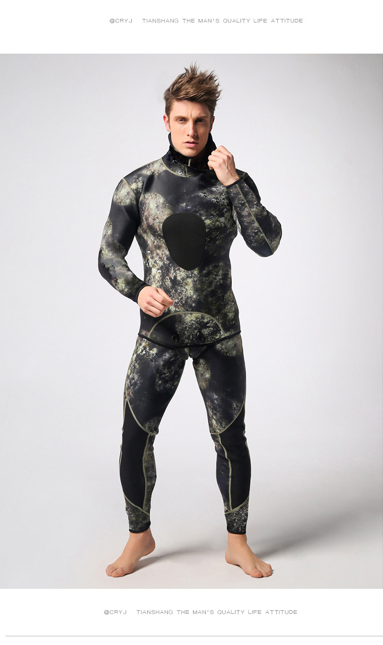 e459b6cc4099d 3mm Camouflage Long Sleeved Fission Hooded Two Pieces Of Neoprene ...