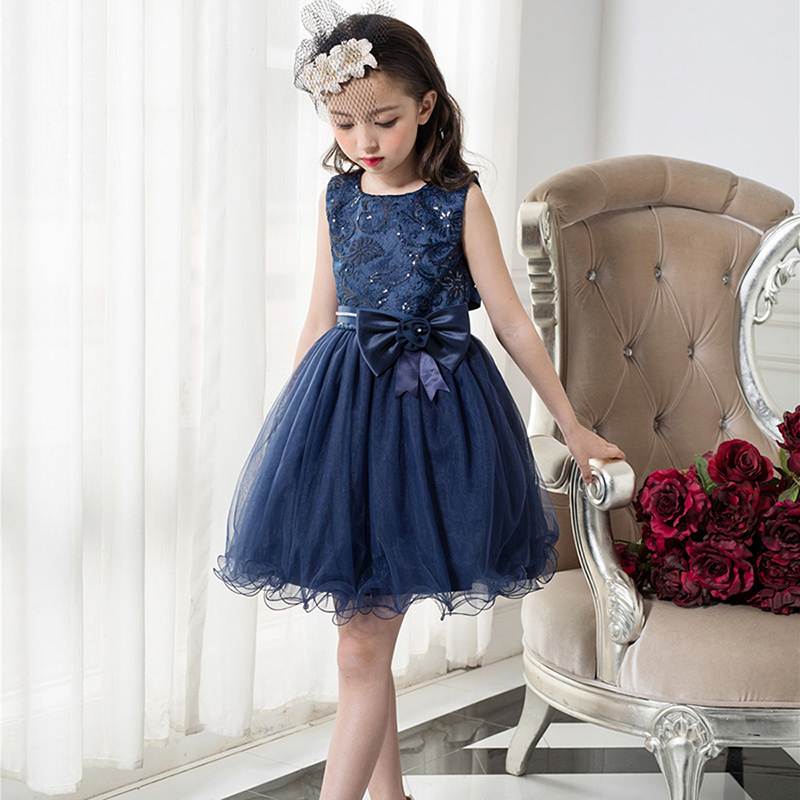 Party Wedding Girls Dresses 2017 Navy Blue Lace Dress Flower Girl Princess Costume With Sequins Kids Brand Designer Girls Dress european and american new sequins lace sleeveless nude meal flower girl dresses show girls poncho big wedding dress