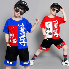 Boy short sleeve suit 2019 summer new cotton color matching exaggerated letters fashion cool boy sports