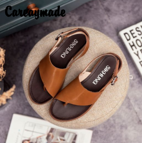Careaymade-Popular Genuine Leather Womens Shoes,Summer Head Layer Cowhide Casual Sandals with Slope-sole Retro-style