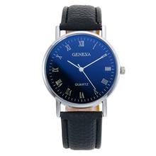 Negocio de los hombres Escala romana Reloj Hombres Moda Casual Reloj de cuarzo de cuero Hombre Azul Reloj de pulsera deportivo Relogio Masculino