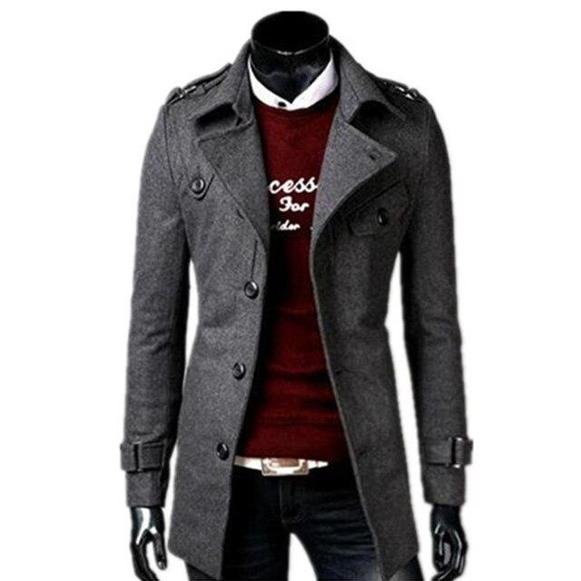 2018 осень/зима новые модные Для мужчин Отдых однобортный плащ/Для мужчин; отложной воротник длинные шерстяные куртки