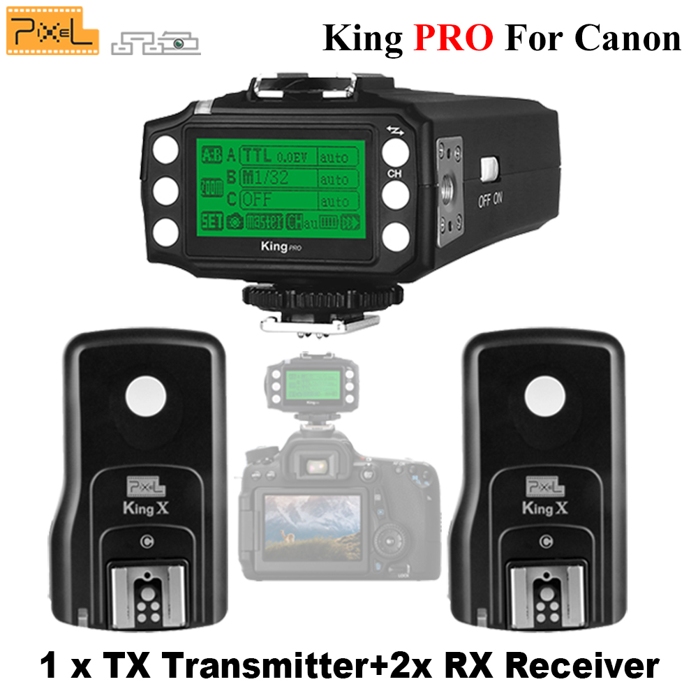 Pixel King Pro 2x Transceivers +1x Transmitter Set For Canon 1100D 5D3 DSLR Camera Wireless 2.4G TTL 1/8000S HSS Flash Trigger