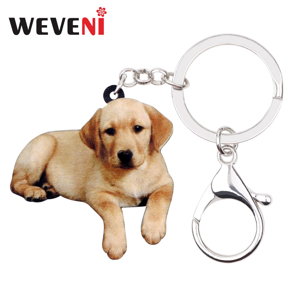 WEVENI Acrylic Labrador Retriever Dog Key Chains Keychain Ring Hot Animal Jewelry For Women Girl Hot Lovers Bag Purse Car Charms